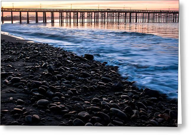 Ventura Pier Greeting Cards - Ventura Pier Rocks Greeting Card by John Daly