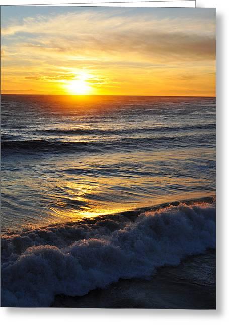 Ventura California Greeting Cards - Ventura Sunset Waves Greeting Card by Kyle Hanson