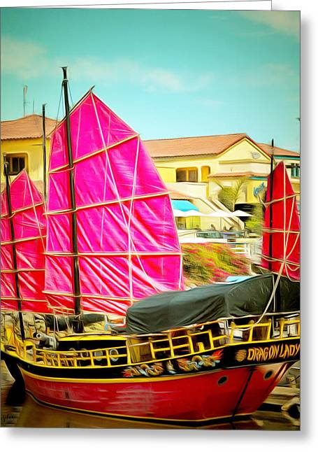 Pirate Ships Paintings Greeting Cards - Venture Harbor Dragon Lady  Greeting Card by Barbara Snyder