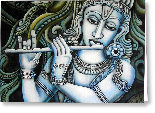 Gopinatha Greeting Cards - Venugopala Greeting Card by Vishwajyoti Mohrhoff