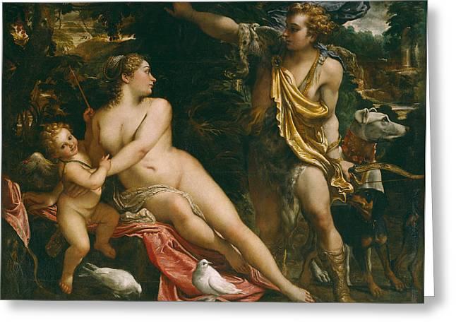 Venus And Cupid Greeting Cards - Venus Adonis and Cupid Greeting Card by Annibale  Carracci