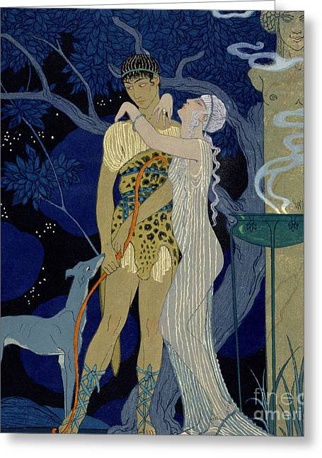 Cloth Greeting Cards - Venus and Adonis  Greeting Card by Georges Barbier