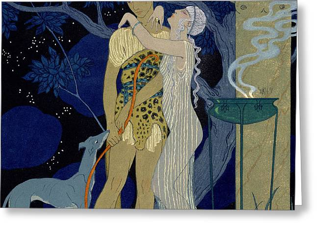Venus and Adonis  Greeting Card by Georges Barbier