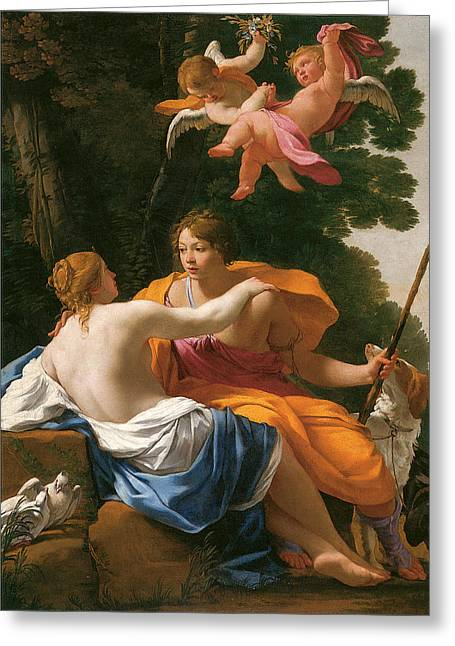 Venus And Cupid Greeting Cards - Venus and Adonis Greeting Card by Simon Vouet