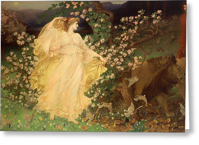 Lioness Greeting Cards - Venus and Anchises Greeting Card by William Blake