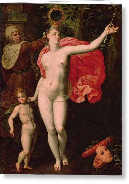Personification Greeting Cards - Venus And Cupid, Allegory Of The Truth Oil On Wood Greeting Card by Jacques de Backer