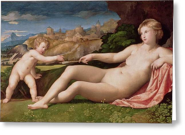 Arrow Greeting Cards - Venus And Cupid Greeting Card by Jacopo Palma