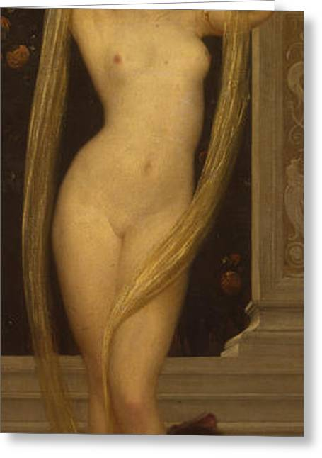 Sweetheart Greeting Cards - Venus and Cupid Greeting Card by Frederic Leighton