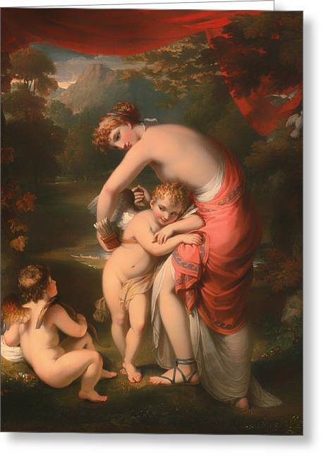 Fabled Greeting Cards - Venus and Cupid Greeting Card by Henry Howard
