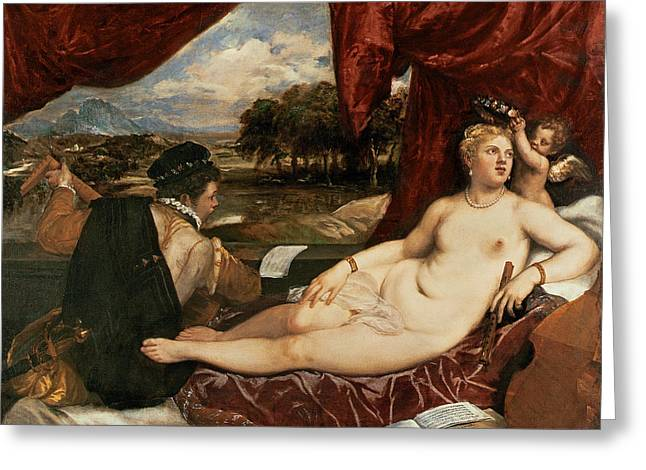 Titian Paintings Greeting Cards - Venus And Cupid With A Lute Player Greeting Card by Titian