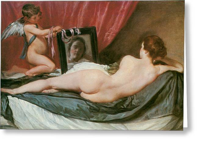 Venus And Cupid Greeting Cards - Venus at Her Mirror Greeting Card by Diego Valezquez
