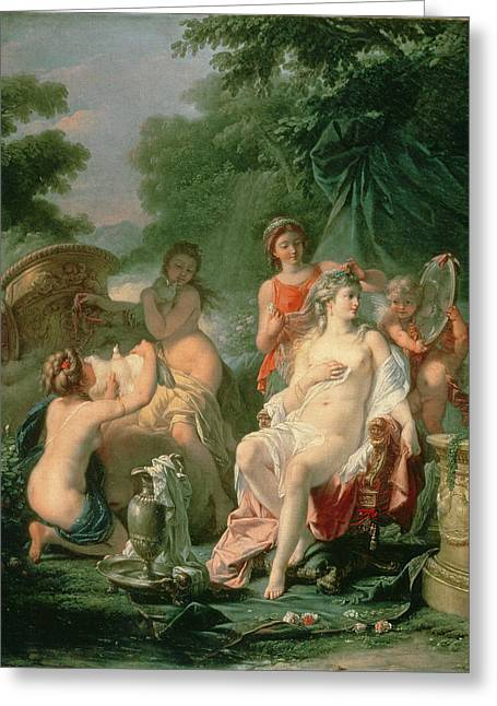 Water Jug Greeting Cards - Venus At Her Toilet, 1760 Greeting Card by Hugues Taraval