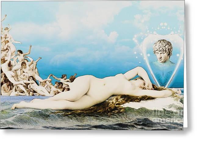 Gaia Mixed Media Greeting Cards - Venus dreamy with pencil Greeting Card by Gaia Ragu