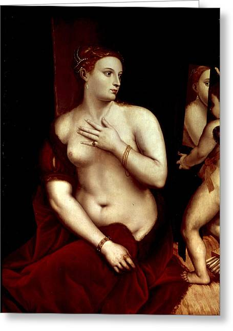 Cherub Greeting Cards - Venus In Front Of The Mirror Greeting Card by Titian