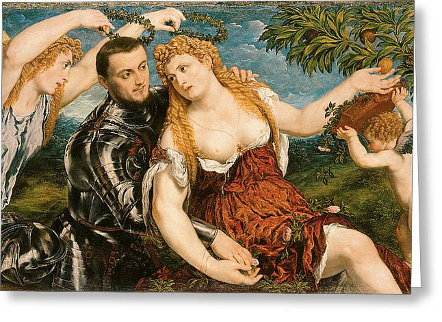 Venus And Cupid Greeting Cards - Venus Mars and Cupid Crowned by Victory Greeting Card by Paris Bordon