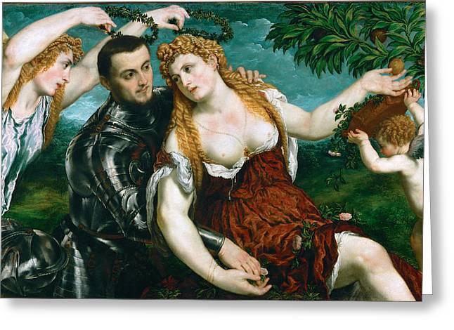 Venus And Cupid Greeting Cards - Venus Mars and Cupid crowned by Victory Greeting Card by Paris Bordone