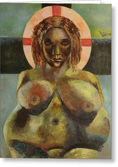 Statue Portrait Paintings Greeting Cards - Venus of Willendorf Hottentot Venus in green umber Greeting Card by Magdalena Walulik