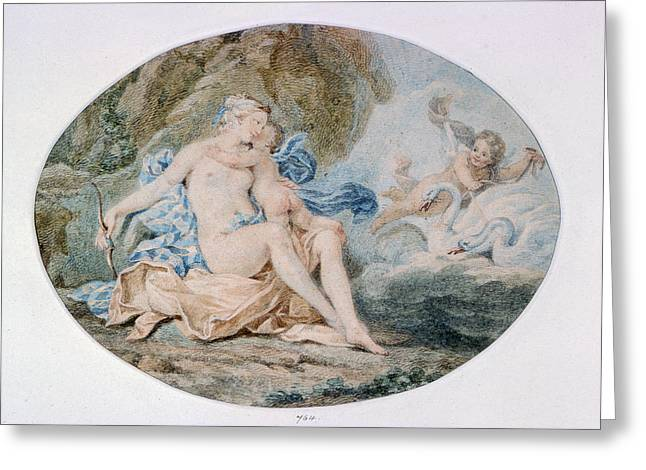 Myth Greeting Cards - Venus Reclining On A Bank Strewn With Drapery Watercolour Greeting Card by Francesco Bartolozzi