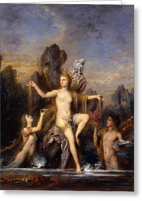 Gustave Moreau Greeting Cards - Venus rising from the sea Greeting Card by Gustave Moreau