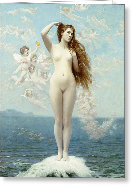 Celestial Paintings Greeting Cards - Venus Rising The Star Greeting Card by Jean Leon Gerome