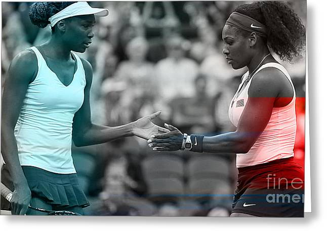 Venus Williams And Serena Williams Greeting Card by Marvin Blaine