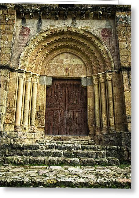 Medieval Temple Greeting Cards - Vera Cruz Door Greeting Card by Joan Carroll