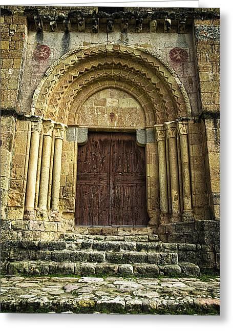 Medieval Temple Greeting Cards - Vera Cruz Door Greeting Card by Joan Carroll