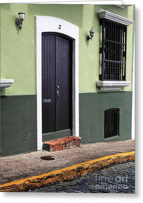 Old San Juan Greeting Cards - Verde en San Juan Greeting Card by John Rizzuto