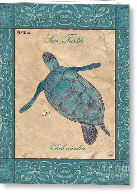 Sea Turtle Greeting Cards - Verde Mare 4 Greeting Card by Debbie DeWitt