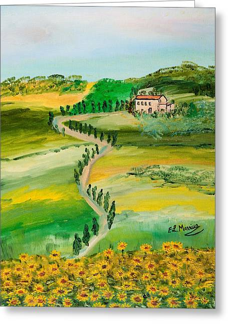 Chianti Greeting Cards - Verde Sentiero Greeting Card by Loredana Messina
