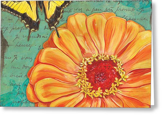 Dahlias Greeting Cards - Verdigris Floral 1 Greeting Card by Debbie DeWitt