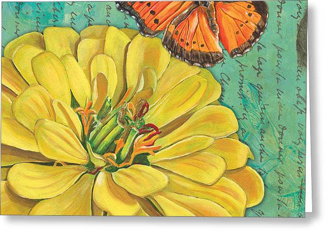 Ladybugs Greeting Cards - Verdigris Floral 2 Greeting Card by Debbie DeWitt