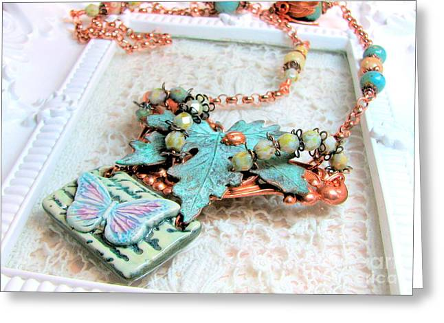 Insects Jewelry Greeting Cards - Verdigris Leaf and Butterly Necklace Greeting Card by Cates Boutik