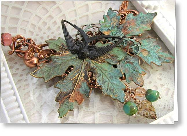 Leaves Jewelry Greeting Cards - Verdigris Leaves Necklace Greeting Card by Cates Boutik