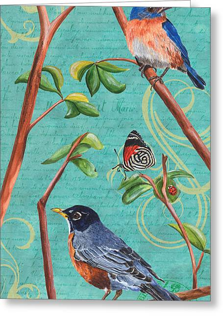 Yellow Brown Greeting Cards - Verdigris Songbirds 1 Greeting Card by Debbie DeWitt