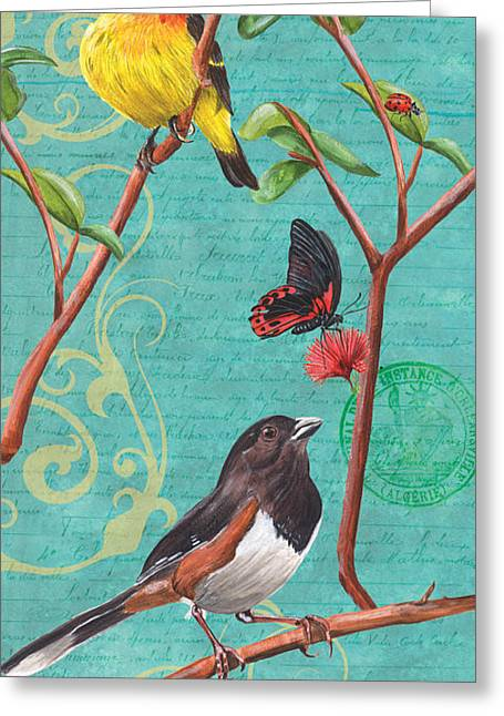 Brown Towhee Greeting Cards - Verdigris Songbirds 2 Greeting Card by Debbie DeWitt