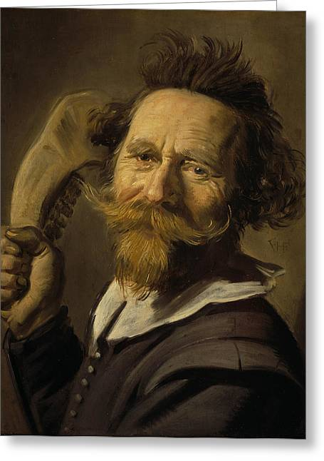 Moustache Greeting Cards - Verdonck, C.1627 Oil On Panel Greeting Card by Frans Hals