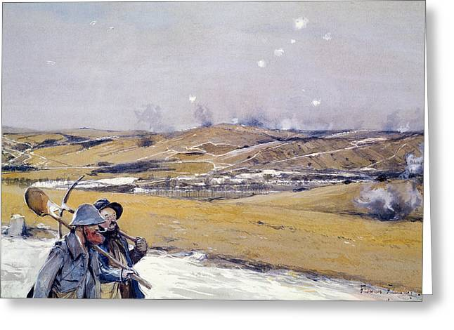 Wwi Photographs Greeting Cards - Verdun, 1916 Oil On Canvas Greeting Card by Francois Flameng