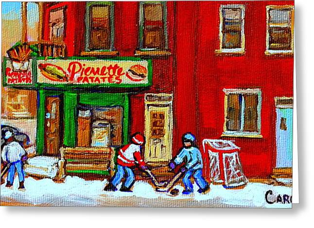 Verdun Restaurants Greeting Cards - Verdun Art Winter Street Scenes Pierrette Patates Resto Hockey Painting Verdun Montreal Memories Greeting Card by Carole Spandau