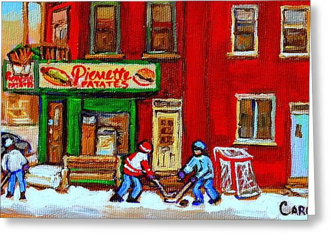 VERDUN ART WINTER STREET SCENES PIERRETTE PATATES RESTO HOCKEY PAINTING VERDUN MONTREAL MEMORIES Greeting Card by CAROLE SPANDAU