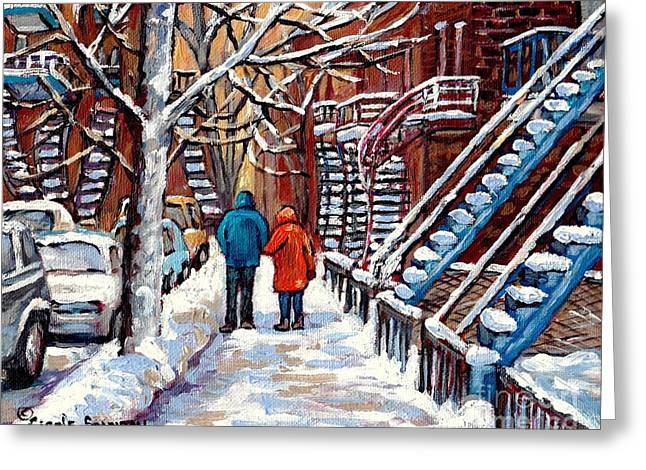 Street Scenes Greeting Cards - Verdun Avenues Winter Couple Near Winding Staircases Canadian Urban Landscape Paintings C Spandau Greeting Card by Carole Spandau