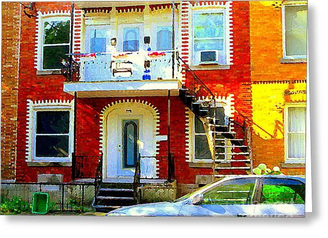 Verdun City Street Triplex Apartment Outdoor Winding Stairs Montreal Scenes Primary Colors C Spandau Greeting Card by Carole Spandau