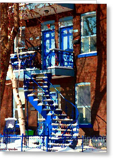 Montreal Staircases Greeting Cards - Verdun Duplex Stairs With Birch Tree Montreal Winding Staircases Winter City Scene Carole Spandau Greeting Card by Carole Spandau