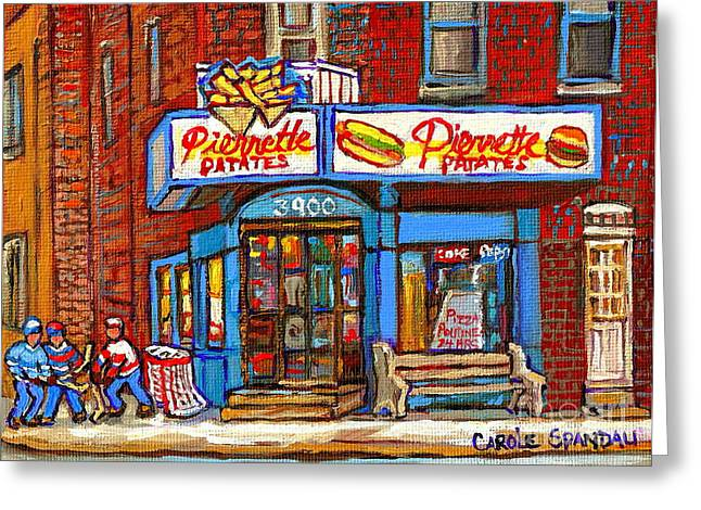 Verdun Restaurants Greeting Cards - Verdun Famous Restaurant Pierrette Patates - Street Hockey Game At 3900 Rue Verdun - Carole Spandau Greeting Card by Carole Spandau