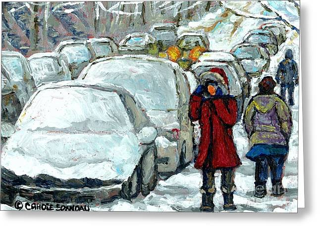 Verdun Connections Greeting Cards - Verdun Girl In Red Coat Snowed In Cars Winter Street Scene Paintings Montreal Art Carole Spandau Greeting Card by Carole Spandau
