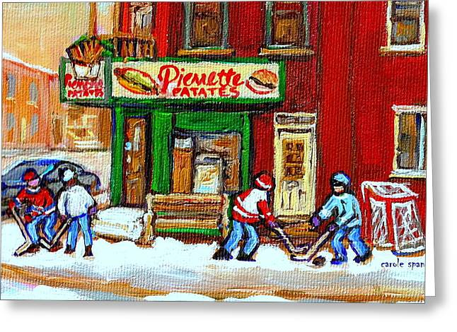 Verdun Restaurants Greeting Cards - Verdun Hockey Game Corner Landmark Restaurant Depanneur Pierrette Patate Winter Montreal City Scen Greeting Card by Carole Spandau