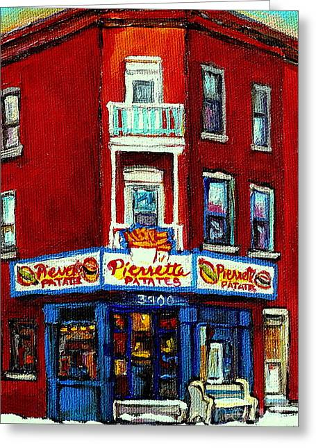 Verdun Food Greeting Cards - Verdun Landmarks Pierrette Patates Resto Cafe  Deli Hot Dog Joint- Historic Marquees -montreal Scene Greeting Card by Carole Spandau