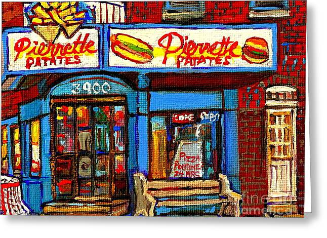Verdun Restaurants Greeting Cards - Verdun Restaurants Pierrette Patates Pizza Poutine Pepsi Cola Corner Cafe Depanneur - Montreal Scene Greeting Card by Carole Spandau