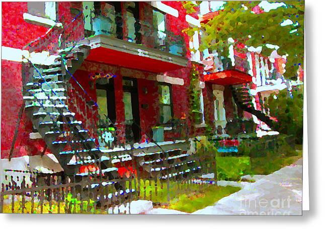 Montreal Memories Greeting Cards - Verdun Spiral Staircases Sprawling Balconies Red Brick Duplex Triplex Montreal Scenes Carole Spandau Greeting Card by Carole Spandau