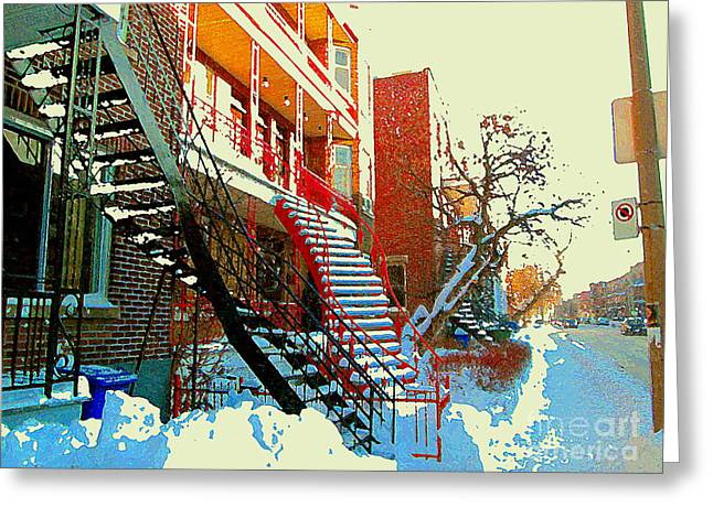 Snowy Day Greeting Cards - Verdun Staircases Sfter The Snow Strom Sunny Day For A Winter Walk Montreal City Scene Cspandau      Greeting Card by Carole Spandau